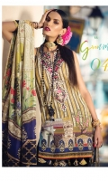 PRINTED DUPATTA (PURE SILK) 2.50 METERS PRINTED SHIRT FRONT (PIMA LAWN) 1.30 METERS PRINTED SHIRT BACK (PIMA LAWN) 1.30 METERS PRINTED SLEEVES (PIMA LAWN) 0.65 METERS PLAIN TROUSER (PIMA COTTON) 2.50 METERS EMBROIDERED NECKLINE 01 PIECE EMBROIDERED TROUSER PATTI 1 1.30 METERS EMBROIDERED TROUSER PATTI 2 2.30 METERS