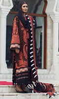 Embroidered Front Center Panel (Lawn) 0.33 Meter Embroidered Front Left Side Panel (Lawn) 0.33 Meter Embroidered Front Right Side Panel (Lawn) 0.33 Meter Embroidered Back (Lawn) 1 Meter Embroidered Sleeves (Lawn) 0.66 Meter Embroidered Sleeve Border (Lawn) 1.32 Meters Embroidered Hem Border (Organza) 1 Meter Dyed Dupatta (Box Organza) 2.25 Meters Embroidered Dupatta + Hem Border (Organza) 8.25 Meters Embroidered Dupatta 4 Side Patti (Organza) 7.25 Meters Dyed Trouser (Cambric) 2.5 Meters