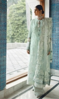 Embroidered Front Center Panel (Lawn) 0.66 Meter Embroidered Front Side Extensions (Lawn) 0.33 Meter Embroidered Back (Lawn) 1 Meter Embroidered Sleeves (Lawn) 0.66 Meter Embroidered Sleeves Border (Lawn) 1.32 Meters Embroidered Hem Border (Organza) 1 Meter Embroidered Dupatta (Net) 2 Meters Embroidered Dupatta Pallu 1 (Net) 0.33 Meter Embroidered Dupatta Pallu 2 ( Net ) 0.33 Meter Dyed Trouser ( Cambric ) 2.5 Meters