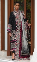 Embroidered Front Center Panel (Lawn) 0.33 Meter Embroidered Front Left Side Panel (Lawn) 0.33 Meter Embroidered Front Right Side Panel (Lawn) 0.33 Meter Embroidered Back Center Panel (Lawn) 0.33 Meter Dyed Back Side Extensions (Lawn) 0.66 Meter Embroidered Sleeves (Lawn) 0.66 Meter Embroidered Front + Back Hem Border 1 (Lawn) 2 Meters Embroidered Front + Back Hem Border 2 (Lawn) 2 Meters Embroidered Dupatta (Organza) 2 Meters Embroidered Dupatta Pallu 1 (Organza) 0.33 Meter Embroidered Dupatta Pallu 2 (Organza) 0.33 Meter Embroidered Dupatta 4 Side Patti (Organza) 7.25 Meters Dyed Trouser (Cambric) 2.5 Meters
