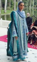 Embroidered Front Center Panel (Lawn) 0.33 Meter Embroidered Front Left Side Panel (Lawn) 0.33 Meter Embroidered Front Right Side Panel (Lawn) 0.33 Meter Dyed Back (Lawn) 1 Meter Embroidered Sleeves (Lawn) 0.66 Meter Embroidered Hem Border (Organza) 1 Meter Embroidered Dupatta (Organza) 2.5 Meters Embroidered Dupatta 4 Side Patti (Lawn) 7.25 Meters Dyed Trouser (Cambric) 2.5 Meters