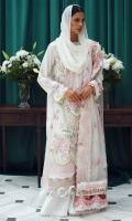 Embroidered Front Center Panel (Lawn) 0.66 Meter Embroidered Front Side Extensions (Lawn) 0.33 Meter Embroidered Back (Lawn) 1 Meter Embroidered Sleeves (Lawn) 0.66 Meter Embroidered Hem Border 1 (Organza) 1 Meter Embroidered Hem Border 2 (Organza) 1 Meter Embroidered Dupatta (Net) 2.25 Meters Embroidered Dupatta 4 Side Patti 1 (Net) 7.25 Meters Embroidered Dupatta 4 Side Patti 2 (Satin) 7.25 Meters Dyed Trouser (Cambric) 2.5 Meters