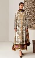 Embroidered Front (Khaddar) 1.3 Meters Embroidered Sleeve (Khaddar) 1.3 Meters Embroidered Sleeve Border (Satin) 1.3 Meters Embroidered Front HEM Border (Satin) 1 Meter Dyed Back (Khaddar) 1.3 Meters Dyed Trouser (Khaddar) 2.5 Meters Digital Printed Shawl (Wool) 2.5 Meters