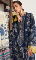 Embroidered Front (Khaddar) 1.3 Meters Embroidered Sleeves (Khaddar) 1.3 Meters Embroidered Front (Left+Right) Side Extentions (Khaddar) 1 Pair Embroidered Front HEM Border (Satin) 1 Meter Embroidered Sleeve Border (Satin) 1.3 Meters Dyed Back (Khaddar) 1.3 Meters Dyed Trouser (Khaddar) 2.5 Meters Digital Printed Dopatta (Medium Silk) 2.5 Meters