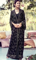 A jet black pure chiffon embellished with fan shaped dandelions in gold tilla. A classic design perfect for evening wear.
