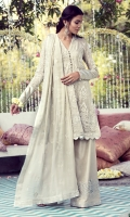 Stunning off-white chiffon embossed with silver Baroque threadwork. A classic and elegant design that can suit multiple occasions.