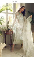 EMBROIDERED DUPATTA (PURE ORGANZA) 2.50 METERS EMBROIDERED DUPATTA PALLU (PURE ORGANZA) 02 PIECES EMBELLISHED EMBROIDERED SHIRT FRONT (POLY NET) 0.55 METERS EMBROIDERED SHIRT BACK (POLY NET) 0.95 METERS EMBELLISHED EMBROIDERED SLEEVES (POLY NET) 0.60 METERS EMBROIDERED SIDE EXTENSIONS (POLY NET) 02 PIECES DYED SLIP (RAW SILK) 2.00 METERS DYED TROUSER (RAW SILK) 2.50 METERS EMBROIDERED FORNT & BACK CREW (SATIN SILK) 02 PIECES EMBELLISHED EMBROIDERED HEM BORDER FRONT (SATIN SILK) 0.95 METERS EMBROIDERED HEM BORDER BACK (SATIN SILK) 0.95 METERS EMBROIDERED SLEEVES BORDER (SATIN SILK) 1.00 METERS