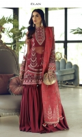 EMBROIDERED DUPATTA (PURE ORGANZA) 2.50 METERS EMBROIDERED DUPATTA PALLU (PURE ORGANZA) 02 PIECES EMBELLISHED EMBROIDERED SHIRT FRONT (POY NET) 0.55 METERS EMBROIDERED SHIRT BACK (POLY NET) 0.55 METERS EMBELLISHED EMBROIDERED SLEEVES (POLY NET) 0.60 METERS EMBROIDERED SIDE EXTENSIONS FRONT (POLY NET) 02 PIECES EMBROIDERED SIDE EXTENSIONS BACK (POLY NET) 02 PIECES DYED SLIP (RAW SILK) 2.00 METERS DYED TROUSER (RAW SILK) 2.50 METERS EMBROIDERED NECKLINE (SATIN SILK) 01 PIECE EMBROIDERED BAN (SATIN SILK) 01 PIECE EMBELISHED EMBROIDERED HEM BORDER FRONT (SATIN SILK) 0.95 METERS EMBROIDERED HEM BORDER BACK (SATIN SILK) 0.95 METERS EMBELISHED EMBROIDERED SLEEVES BORDER (SATIN SILK) 1.00 METERS EMBROIDERED HEM PATTI (SATIN SILK) 0.80 METERS