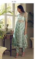 EMBROIDERED DUPATTA (POLY NET) 2.50 METERS EMBROIDERED DUPATTA PALLU (POLY NET) 02 PIECES EMBELLISHED EMBROIDERED SHIRT FRONT (POLY NET) 0.55 METERS EMBROIDERED SHIRT BACK (POLY NET) 1.20 METERS EMBELLISHED EMBROIDERED SLEEVES (POLY NET) 0.60 METERS EMBROIDERED SIDE EXTENSIONS FRONT (POLY NET) 02 PIECES DYED SLIP (RAW SILK) 2.00 METERS PRINTED TROUSER (RAW SILK) 2.50 METERS EMBELLISHED EMBROIDERED NECK CREW FRONT (SATIN SILK) 01 PIECE EMBROIDERED NECK CREW BACK (SATIN SILK) 01 PIECE EMBROIDERED NECKLINE (SATIN SILK) 01 PIECE EMBELLISHED EMBROIDERED HEM BORDER FRONT (SATIN SILK) 1.25 METERS EMBROIDERED HEM BORDER BACK (SATIN SILK) 1.25 METERS EMBELISHED EMBROIDERED SLEEVES BORDER (SATIN SILK) 1.00 METERS