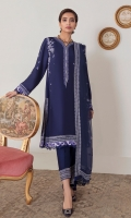 We're bringing you elegant style with our signature embroideries in 'Hyacinth.' A deep indigo base is ornamented with whimsical floral embroideries and innovative accents of lavender. Paired with a gorgeous bordered dupatta and narrow trouser with embroidered cuffs this elegant ensemble is ideal for evening soirees.