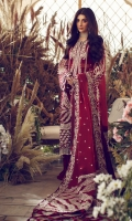 EMBROIDERED FRONT (ORGANZA) 1 PIECE EMBROIDERED SIDE PANELS (ORGANZA) 2 PIECES EMBROIDERED SLEEVES (ORGANZA) 1.3 METERS EMBROIDERED SLEEVE PATTI (SATIN) 1.2 METERS EMBROIDERED DUPATTA CENTER PANEL (ORGANZA) 1.3 METERS EMBROIDERED DUPATTA PALLU (ORGANZA) 4 PIECES EMBROIDERED FRONT & BACK HEM BORDER (SATIN) 2 METERS EMBROIDERED BACK (ORGANZA) 1 METERS EMBROIDERED DUPATTA BORDER (SATIN) 8 METERS EMBROIDERED DUPATTA PATTI 2.25 METERS DYED INNER SLIP (RAW SILK) 2 METERS DYED TROUSER (BAMBER RAW SILK) 2.5 METERS
