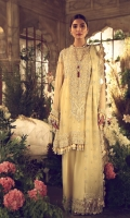 Bringing old world charm to your formals wardrobe this flared panelled kurta in sheer organza is intricately embellished with silk and metallic threads and worn with a diaphonous lemon organza dupatta finished with gold lamè scallops. Layered over a luxurious silk sharara with a heavily embellished border, this look merges tradition with modernity using Élan's signature ethos.
