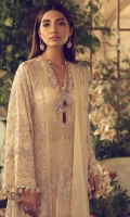 An elegantly flowing silhouette in soft pink is adorned with Persian inspired mihrabs and beautifully encrusted with 3D fabric flowers, crystals and silver filigree. Layered over a rich silver kimkhuab sharara and paired with a dupatta with a sequinned border and scattered motifs and hung with intricately made tassels, this ethereal and airy formal is ideal for summer weddings.