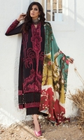 DIGITAL PRINTED SHAWL (PURE WOOL) 2.50 METERS EMBROIDERED SHIRT FRONT LEFT (JACQUARD) 01 PIECE EMBROIDERED SHIRT FRONT RIGHT (JACQUARD) 01 PIECE DYED SHIRT BACK (JACQUARD) 1.20 METERS EMBROIDERED SLEEVES (JACQUARD) 0.50 METERS EMBROIDERED SIDE EXTENSIONS (JACQUARD) 02 PIECES DYED TROUSER (KHADDAR) 2.50 METERS EMBROIDERED FRONT & BACK NECK CREW (SATIN SILK) 02 PIECES EMBROIDERED HEM BORDER (SATIN SILK) 1.90 METERS