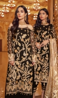 FRONT: Chiffon Embroidered Hand Work. BACK: Chiffon Embroidered PATCHES: Organza Embroidered Front & Back Boder SLEEVES: Chiffon Embroidered along with Embroidered Patch DUP: Chiffon Embroidered TROUSER: Embroidered Raw Silk