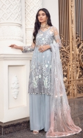 FRONT: Net Embroidered Front Body, Net Embroidered Center & Side Panels BACK: Net Embroidered PATCHES: Organza Embroidered Front Back Border Organza Embroidered Front& Back Laces SLEEVES: Net Embroidered DUP: Net Embroidered TROUSER: Dyed Raw Silk