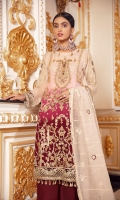 FRONT: Chiffon Embroidered Hand Work. BACK: Chiffon Embroidered PATCHES: Organza Embroidered Front & Back SLEEVES: Chiffon Embroidered along with embroidered boder DUPATTA: Net Embroidered TROUSER: Dyed Raw Silk along with Embroidered Trouser Patch
