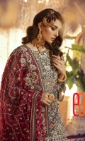 Embroidered Chiffon Front with sequence Embroidered Chiffon Back Embroidered Sleeves Embroidered Front Patch Embroidered Back Patch Embroidered Chiffon Dupatta Embroidered Net Fabric for Trouser ( Gharara / Sharara ) Trouser lining