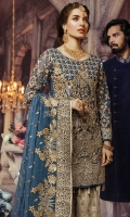 Embroidered Front with sequence Embroidered Back Embroidered Sleeves Embroidered chiffon Dupatta Embroidered Net Fabric for Gharara Trouser lining