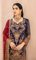 Chiffon Embroidered Front with Handwork Chiffon Embroidered Back Chiffon Embroidered Sleeves with Handwork Chiffon Embroidered Dupatta with Diamantes Organza Embroidered Front, Back Border With Handwork Grip Embroidered Bazu, Gharara Patti Embroidered Net Gharara Jamawar for Gharara Linning