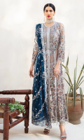 Net Embroidered Front Panel with Handwork Net Embroidered Back Net Embroidered Sleeves with Handwork Chiffon Embroidered Duppata Net Embroidered Neck Line and Front Patti Grip Trouser