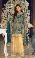 Chiffon embroidered front with Handwork Chiffon embroidered Back Chiffon Embroidered Sleeves with Handwork Chiffon Embroidered Duppata with Handwork Organza Embroidered Front, Back Border. Embroidered Net Gharara Jamawar for Gharara Linning