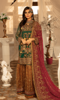 Chiffon embroidered front with Handwork Chiffon embroidered Back Chiffon Embroidered Sleeves with Handwork Chiffon Embroidered Duppata with Handwork Organza Embroidered Front, Back Border with Handwork Embroidered Net Gharara Jamawar for Gharara Linning Accessories