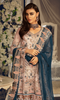 Chiffon embroidered front with Handwork Chiffon embroidered Back Chiffon Embroidered Sleeves with Handwork Chiffon Embroidered Duppata with diamantés Organza Embroidered Front, Back Border with Handwork Embroidered Net Gharara Jamawar for Gharara Linning Accessories