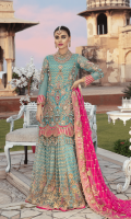 Chiffon Embroidered front with Handwork Chiffon Embroidered Back Chiffon Embroidered Sleeves with Handwork Chiffon Embroidered Duppata with Handwork Raw Silk Embroidered Front, Back Border. Raw Silk Embroidered Sleeves Border Embroidered Net Lehnga Jamawar for Lehnga Linning Accessories