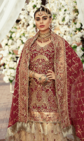 Chiffon Embroidered front with Handwork Chiffon Embroidered Back Chiffon Embroidered Sleeves with Handwork Chiffon Embroidered Duppata with Handwork Organza Embroidered Front, Back Borde with Handwork Embroidered Net Gharara Embroidered Border for Lehnga Jamawar for Lehnga Linning Accessories