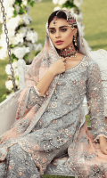 Chiffon Embroidered front with Handwork Chiffon Embroidered Back Chiffon Embroidered Sleeves with Handwork Chiffon Embroidered Duppata with Handwork Organza Embroidered Front, Back Borde with Handwork Embroidered Net Gharara Jamawar for Gharara Linning Accessories