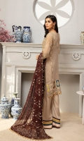 FRONT: CHIFFON EMBROIDERED FRONT WITH HAND WORK  BACK: CHIFFON EMBROIDERED BACK  SLEEVES: CHIFFON EMBROIDERED SLEEVES  BORDER: FRONT, BACK AND SLEEVES ORGANZA EMBROIDERED BORDER  DUPATTA: CHIFFON EMBROIDERED DUPATTA  TROUSER: RAWSILK TROUSER