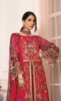 Chiffon Embroidered Hand Made Front Body Chiffon Embroidered Hand Made Front Right And Left Panels Chiffon Embroidered Front Side Panels Chiffon Embroidered Back Body Chiffon Embroidered Back Centre Panel Chiffon Embroidered Back Side Panels Chiffon Embroidered Sleeves Chiffon Embroidered Dupatta Organza Embroidered Front Panels Lace Organza Embroidered Front, Back And Sleeves Border Dyed Raw Silk Trouser