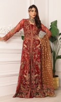 Net Embroidered Hand Made Front Right And Left Body Net Embroidered Hand Made Front Right And Left Panels Net Embroidered Front Side Panels Net Embroidered Back Body Net Embroidered Back Right And Left Panels Net Embroidered Back Side Panels Net Embroidered Sleeves Organza Bindi Dupatta Organza Embroidered Front Panels Lace Organza Embroidered Front And Back Border Organza Embroidered Border For Dupatta Palo Organza Embroidered Lace For Dupatta Dyed Raw Silk Trouser