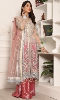 Net Embroidered Hand Made Front Right And Left Panels Net Embroidered Back Net Embroidered Sleeves Net Embroidered Dupatta Organza Embroidered Front And Back Border Jamawar Trouser