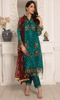 Chiffon Embroidered Hand Made Front Chiffon Embroidered Sleeves Chiffon Plain Fabric For Back Net Embroidered Dupatta Organza Embroidered Front, Back And Sleeves Border Organza Embroidered Trouser Lace Organza Embroidered Trouser Patches Dyed Raw Silk Trouser