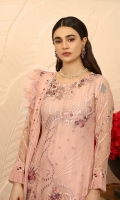 Chiffon Embroidered front. Organza Embroidered Hand work Neck line. Chiffon Embroidered back. Chiffon embroidered Sleeves. Chiffon Embroidered Dupatta. Organza Embroidered front, back border. Organza Embroider Dupatta border. Organza Embroidered Trouser border. Dyed Raw silk Trouser.