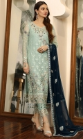 Chiffon Embroidered front. Organza Embroidered Hand made Neck line. Chiffon Embroidered back. Chiffon Embroidered sleeve. Chiffon Embroidered dupatta. Organza Embroidered front, back border. Organza Embroidered sleeve border Organza Embroidered Trouser border. Dyed Raw silk Trouser.