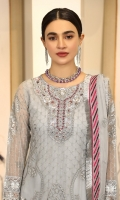 Chiffon Embroidered front.      Organza Embroidered Adda Work Neck line. Chiffon Embroidered back. Chiffon Embroidered sleeve. Chiffon Embroidered dupatta. Organza Embroidered front, back, sleeves border. Organza Embroidered Trouser border. Dyed Raw silk trouser