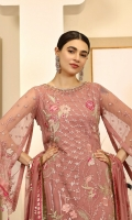 Chiffon Embroidered front. Chiffon Embroidered back. Chiffon Embroidered sleeve. Chiffon Embroidered dupatta. Organza Embroidered Hand made Neck line. Organza Embroidered front, back border. Organza Embroidered sleeve border. Organza Embroidered Trouser Patches. Dyed Raw silk Trouser.