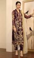 Chiffon Embroidered front. Chiffon Embroidered back. Chiffon Embroidered sleeve. Net Embroidered dupatta. Organza Embroidered Hand made Neck line. Organza Embroidered front, back border. Organza Embroidered sleeve border. Organza Embroidered Trouser Patches. Dyed Raw silk Trouser.