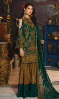 Embroidered Chiffon Front Embroidered Chiffon Back Embroidered Grip Patch for Front and Back border Embroidered Chiffon Sleeves Embroidered Chiffon Dupatta Jacquard Trouser