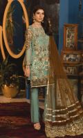 Embroidered Chiffon Front Chiffon Back Embroidered Organza Front, Back Border Embroidered chiffon Sleeves Organza Embroidered Motifs for Sleeves Embroidered Net Pallu for Dupatta Net Dupatta Russian Grip Trouser