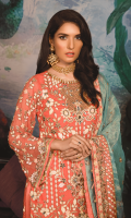 Chiffon Front with HANDWORK and Embroidery Embroidered Chiffon Back Organza Front Back Border Embroidered Chiffon Sleeves with Handwork Mesouri Embroidered Dupatta Embroidered Lace for Dupatta Russian Grip Trouser