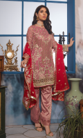Chiffon Front with HANDWORK and Embroidery Embroidered chiffon Back Organza Front Back Border Embroidered Chiffon Sleeves with Handwork Chiffon Embroidered Dupatta Jacquard Trouser