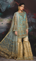 Organza Front With Handwork and Embroidery Organza Embroidered Back Hand Work Organza Border Handwork Embroidered sleeves on Organza Embroidered Net Pallu Dupatta with Handwork Embroidered Net Fabric for Gharara Jamawar for Gharara