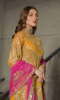 Front Sequence Embroidered Chiffon Back Sequence Embroidered Back Border Sequence Embroidered front, Back Border on Organza Sleeves Sequence Embroidered Chiffon Dupatta Sequence Embroidered Chiffon Dupatta Trouser Dyed Russian Grip Net Fabric Laces and jamawar