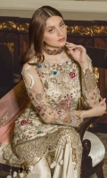 Front Sequence Embroidered Chiffon Back Sequence Embroidered Back Border Sequence Embroidered front, Back Border on Organza Sleeves Sequence Embroidered Chiffon Dupatta Sequence Embroidered Chiffon Dupatta Trouser Dyed Russian Grip Embroidered lace