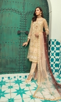 Organza Embroidered and sequence work front with Handwork  Organza embroidered back  Organza embroidered front and back border  Embroidered Cutwork Sleeves along with separate embroidered patch  Embroidered Duppata on Net  Dyed rawsilk trouser along with Trouser Patch and motifs