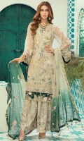 Organza embroidered front with Handwork  Organza embroidered back  Rawsilk embroidered front and back border  Organza embroidered Sleeves along with embroidered patch  Chiffon embroidered duppata  Embroidered Rawsilk trouser